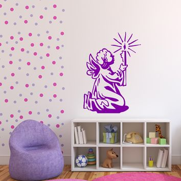 Large Vinyl Decal Little Angel with Candle Prayer Wall Sticker (n615)