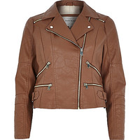 River Island Womens Brown leather-look zip biker jacket
