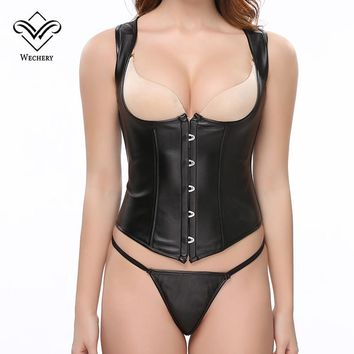 Wechery Steampunk Corset Gothic Clothing PVC Leather Steel Bone Bustiers Lace up korset Corsage Basque Waist Trainer Corsets Top