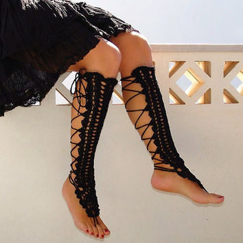 Leg warmers, crochet black sexy nude shoes,  laced up, victorian lace, leg accessories, steampunk, legwear
