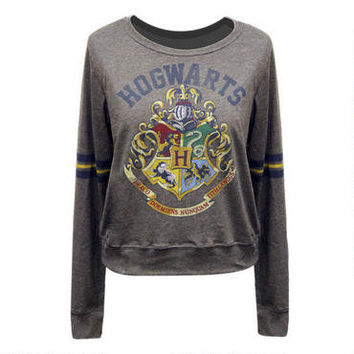 Hogwarts Crest Long Sleeve Tee with Stripes |