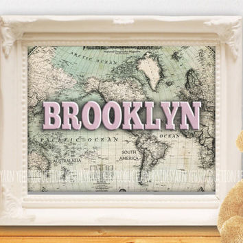 Personalized Welcome to the World Baby Shower with Old Map, Name Nursery Art, Antique Baby Shower, Name Print, Nursery Decor, Newborn Gift