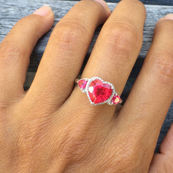 Sterling Silver Created Ruby and Diamond Heart Ring