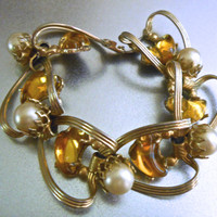 Poured Glass Bracelet, Yellow Topaz, Faux Pearl, Gold Tone Link, Vintage