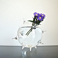 Spiky Glass Globe Vase / Spiky Ball Flower Vase