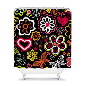 Shower Curtain Flower Hot Pink Purple Yellow Green Black Orange Floral Pattern Butterfly Girl Bathroom Bath Polyester Made in the USA