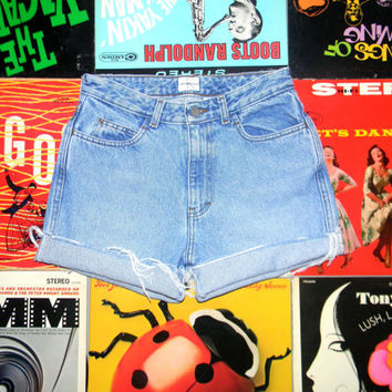 High Waisted Denim Shorts - 80s Light Wash Blue Jean Shorts - Frayed, Cuffed, Naturally Distressed CALVIN KLEIN Shorts Size 2 4 Small S xs