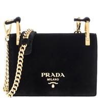 Prada Women's Pattina Velvet Chain Shoulder Bag Black