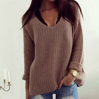 Womens Casual Long Sleeve Knitwear Jumper Cardigan Coat Jacket Sweater Pullover +Free Christmas Gift - Random Necklace