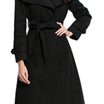 Women's Turn-Down Collar Double-Breasted Long Outerwear Slim Belted Trench Coat