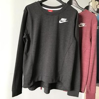 Nike Crew Neck Long sleeves Top Sweater Pullover Sweatshirt In Black/Gray
