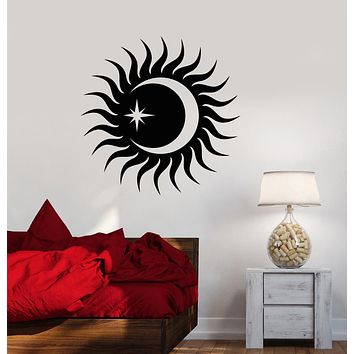 Vinyl Wall Decal Sun And Moon Star Bedroom Decoration Stickers (3389ig)