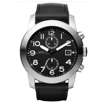 Marc by Marc Jacobs MBM5033 Men's Larry Black Dial Black Leather Strap Chronograph Watch