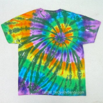 Tie Dye Shirt- Large Green Rainbow Spider
