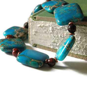 Jasper turquoise rainbow agate copper stretch by TheRottenRooster