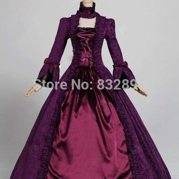 Victorian Gothic Brocade Steampunk Dress Ball Gown Halloween Stage Costume Hallowmas Party Dress