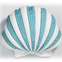 Outdoor Scallop Shaped Pillow in Turquoise and White
