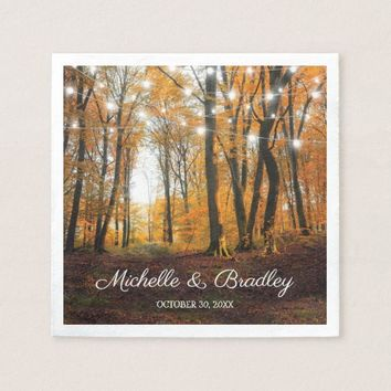 Rustic Country Autumn Fall Woodland Wedding Paper Napkin