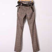 Preppy Style Girl's Check and Plaids Khaki Casual Pants