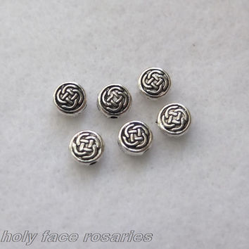 6 Pcs Round Celtic Knots Beads Our Father Pater Noster Set for Irish Rosary 7mm Round Metal Rosary Making Parts