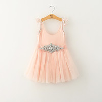 "The ""Elena"" Rhinestone Pink Lace Cap Sleeve Dress"