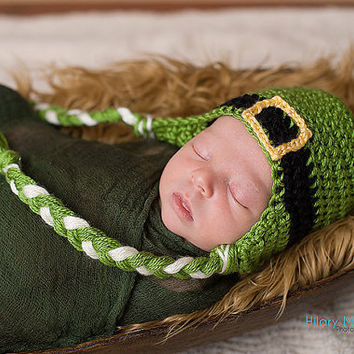 St. Patrick's Day Baby Hat with Ear Flap - Green Crochet St. Patty's Day Infant Hat with Braided Ties