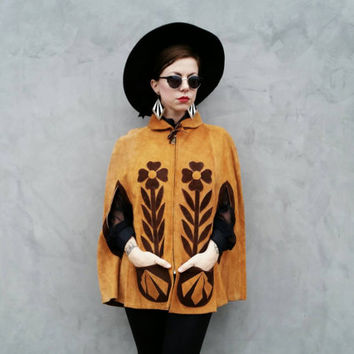 70's Suede / Leather Poncho / Cape / Coat with Flowers