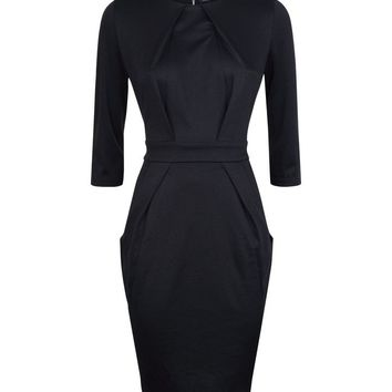 Black Double Pocket Tulip Dress | New Look