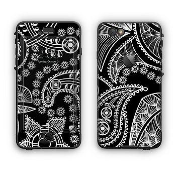 The Black and White Paisley Pattern v14 Apple iPhone 6 Plus LifeProof Nuud Case Skin Set
