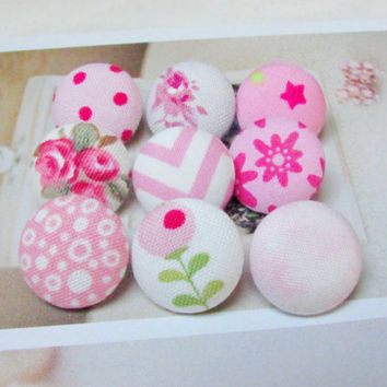 Pink fabric sewing buttons,set of 9, cloth buttons, covered medium floral buttons, pink buttons, mix chevron vintage flowers kawaii stars