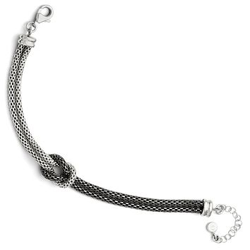 Leslies Sterling Silver Ruthenium Plated Mesh with 1.5in ext. Bracelet