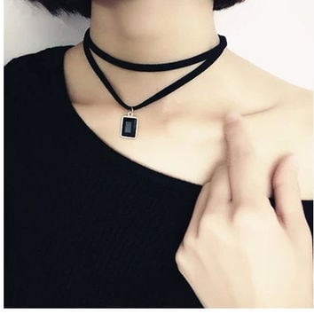 Celebrity Double Layer Black Imitation Leather Choker Necklace Gothic Adjustable Chain Charm Pendant Vintage Jewelry