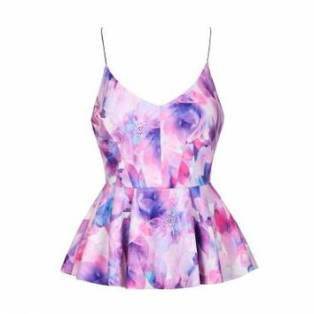 PINK WATERCOLOUR FLORAL PRINTED PEPLUM TOP - Ally Fashion