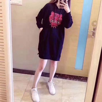 DCCKVQ8 Kenzo' Women Fashion Embroidery Tiger Head Sequins Long Sleeve Hooded Sweater Mini Dress