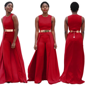 Round Neck Sleeveless Red Cloak Jumpsuit