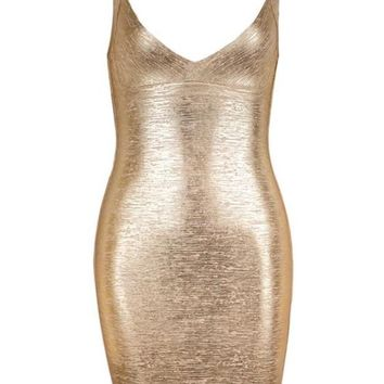 Metallic Bandage Mini Dress