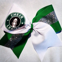 Starbucks coffee cheerleading bow with silver glitter