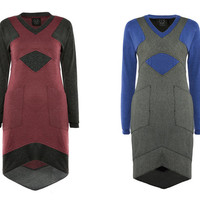 Casual dress with pockets/ Sporty dress/ Fit cut dress/ Raglan sleeve dress/ V- neck/ gift for her/ Vegan fashion/ Tangens