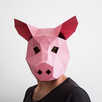 Make Your Own Pig Mask Animal Head Instant Pdf Download DIY H