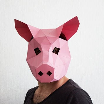 Make your own Pig Mask, Animal Head, Instant Pdf download, DIY Halloween Paper Mask, Printable Templates, 3D Pattern, Polygon Masks