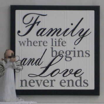 Family Where Life Begins and Love Never Ends - Wooden Plaque / Sign - Black - Home Decor / Wall Decor