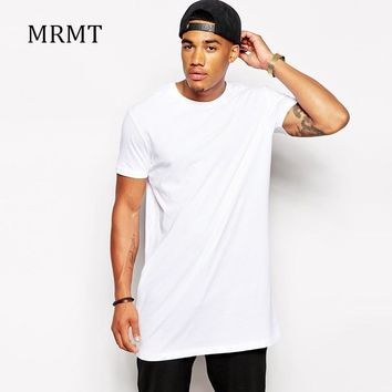 2017 Brand New Men's Clothing White long t shirt Hip hop StreetWear t-shirt Extra Long Length Tee Tops long line tshirt