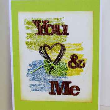 You and Me Handmade Stamped Wedding, I Love You, Engagement Card Featuring Copper Embossed Letters and Heart with a Twine Bow