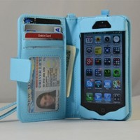 Navor iPhone Life Protective Deluxe Book Style Folio Wallet Leather Case with Removable Strap for iPhone 5 Multifunctional - Pockets to Keep Bank Cards Driving License Bills , Belongings Safe - Light B:Amazon:Cell Phones & Accessories