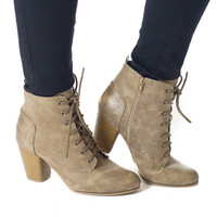 Step Into Fall- Taupe Heel Bootie