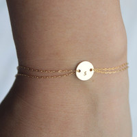 Monogram bracelet 14k gold fill by Hibiscusdays on Etsy