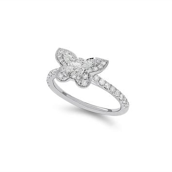 14K White Gold one-of-a-kind Butterfly Diamond Halo Engagement Ring