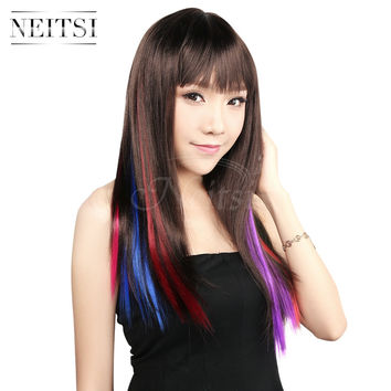 """Ombre Synthetic Clip In On Hair Extension 18"""" 20"""" 10pcs lot Multi/Single Color Gradient Straight Highlight Braiding Hair Pieces"""