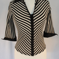 Cutie Pie 90's Striped Stretch Poly  Zip-Up Top