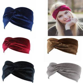 Velvet Twist Head Band Female Earmuffs Ear Warmers Scrunchy Twist Hair Clip Turban Headband Bandana Head Bandage Hair Accessorie
